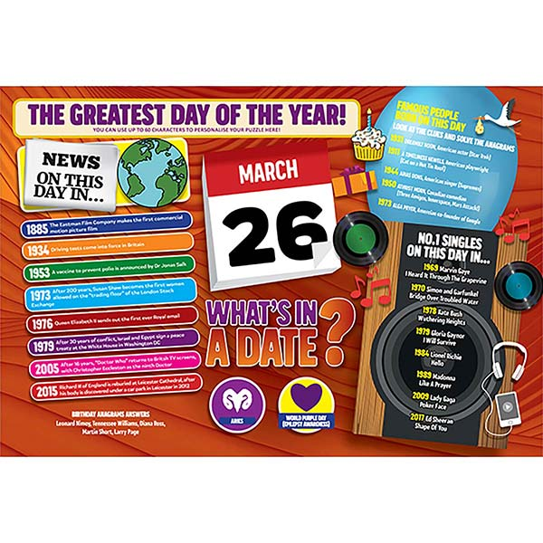 WHAT'S IN A DATE 26th MARCH PERSONALISED 400 PIECE Image