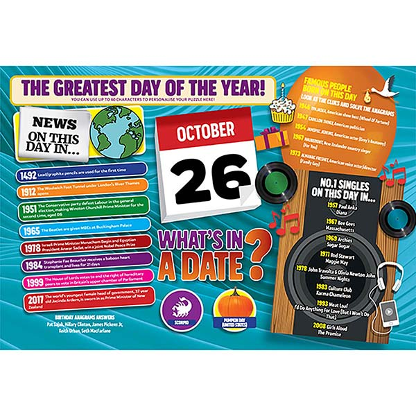 WHAT'S IN A DATE 26th OCTOBER PERSONALISED 400 PIECE Image
