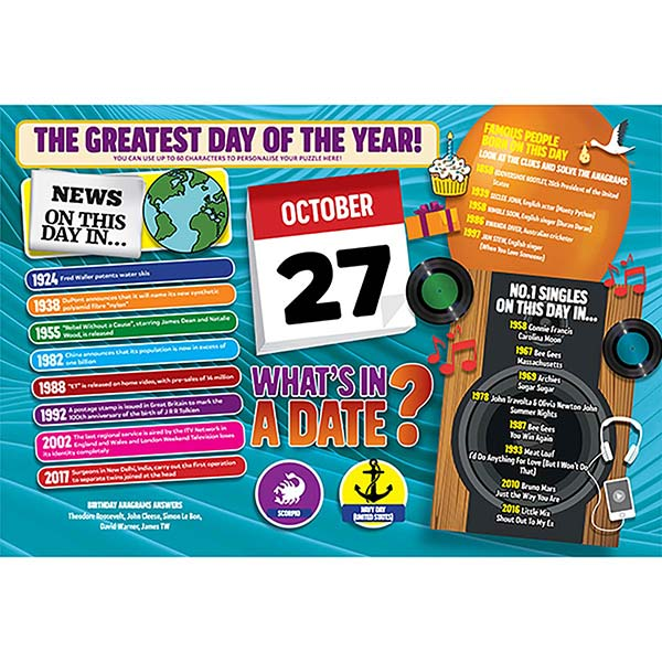 WHAT'S IN A DATE 27th OCTOBER PERSONALISED 400 PIECE Image