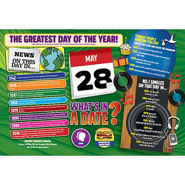 WHAT'S IN A DATE 28th MAY PERSONALISED 400 PIECE Image