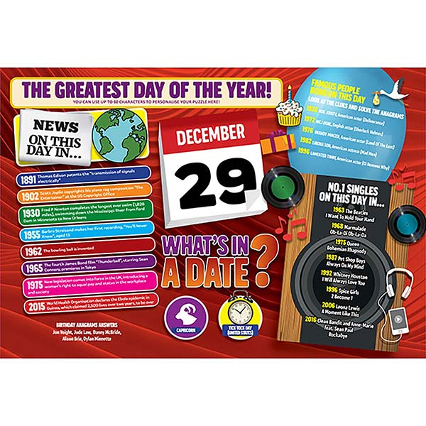 WHAT'S IN A DATE 29th DECEMBER PERSONALISED 400 PIECE Image
