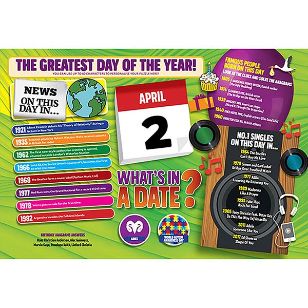 WHAT'S IN A DATE 2nd APRIL PERSONALISED 400 PIECE Image