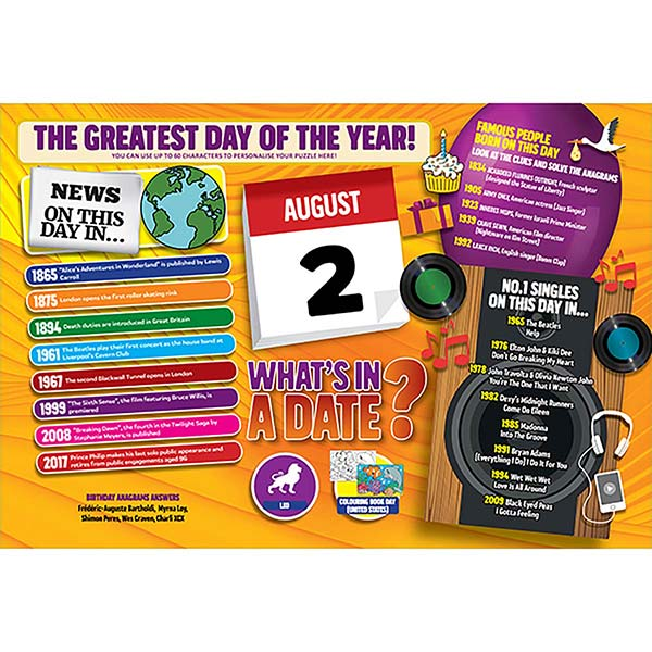 WHAT'S IN A DATE 2nd AUGUST PERSONALISED 400 PIECE Image