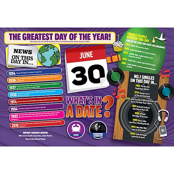 WHAT'S IN A DATE 30th JUNE PERSONALISED 400 PIECE Image