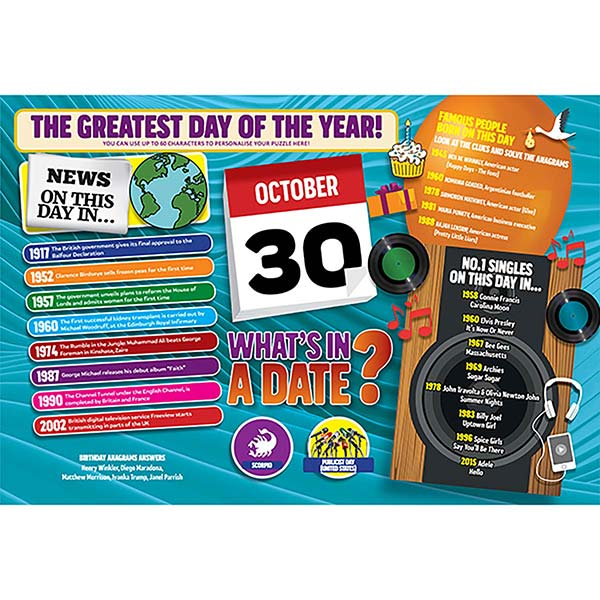 WHAT'S IN A DATE 30th OCTOBER PERSONALISED 400 PIECE Image