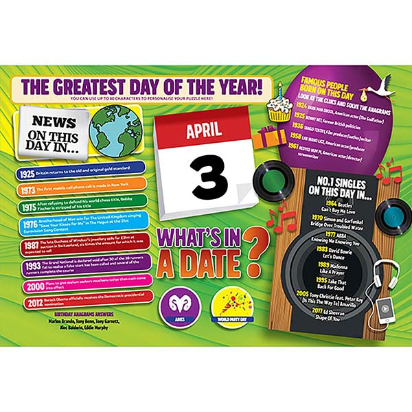 WHAT'S IN A DATE 3rd APRIL PERSONALISED 400 PIECE Image