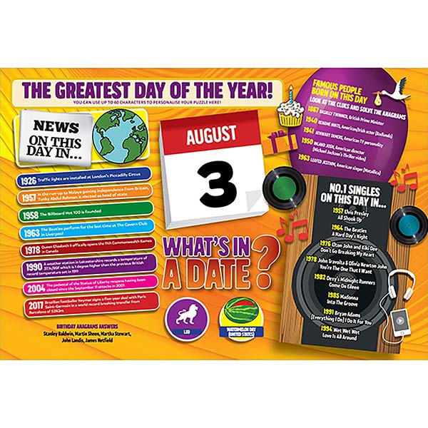 WHAT'S IN A DATE 3rd AUGUST PERSONALISED 400 PIECE Image