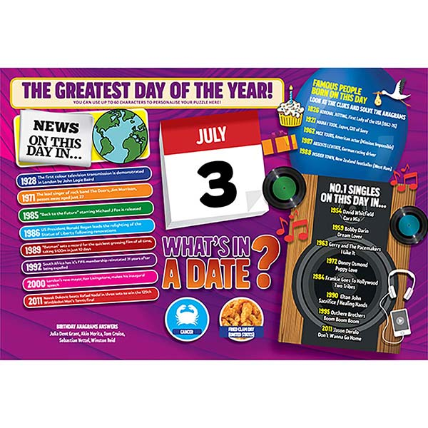 WHAT'S IN A DATE 3rd JULY PERSONALISED 400 PIECE Image