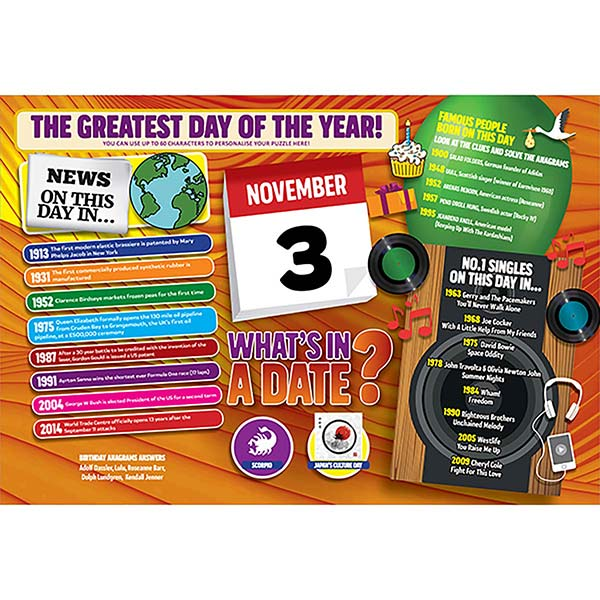 WHAT'S IN A DATE 3rd NOVEMBER PERSONALISED 400 PIECE Image