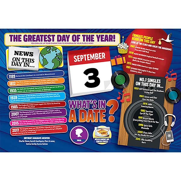 WHAT'S IN A DATE 3rd SEPTEMBER PERSONALISED 400 PIECE Image