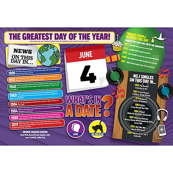 WHAT'S IN A DATE 4th JUNE PERSONALISED 400 PIECE Image