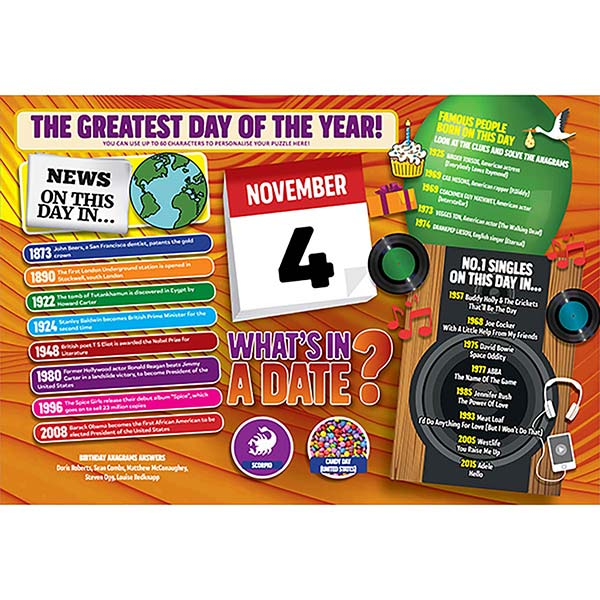 WHAT'S IN A DATE 4th NOVEMBER PERSONALISED 400 PIECE Image