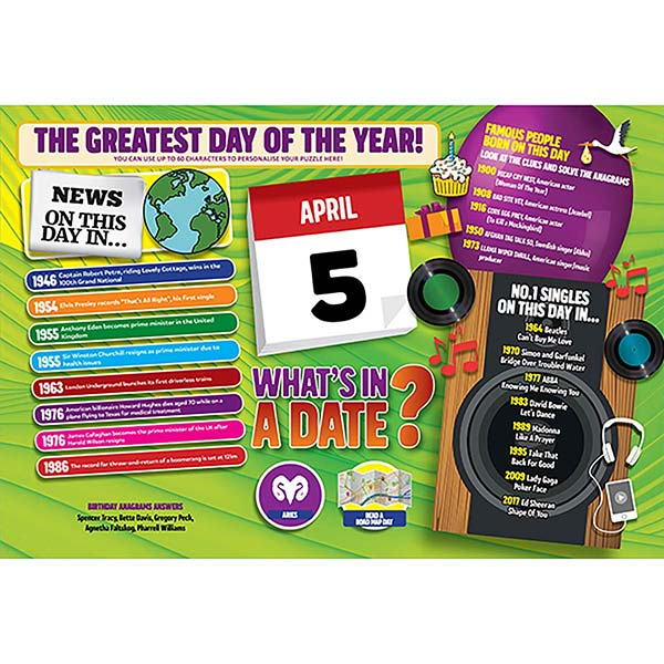 WHAT'S IN A DATE 5th APRIL PERSONALISED 400 PIECE Image