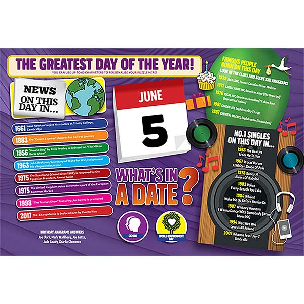 WHAT'S IN A DATE 5th JUNE PERSONALISED 400 PIECE Image