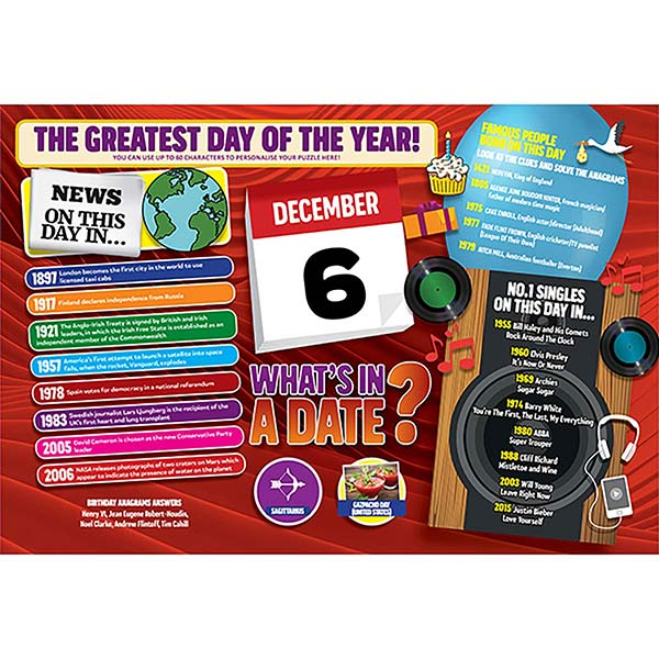 WHAT'S IN A DATE 6th DECEMBER PERSONALISED 400 PIECE Image
