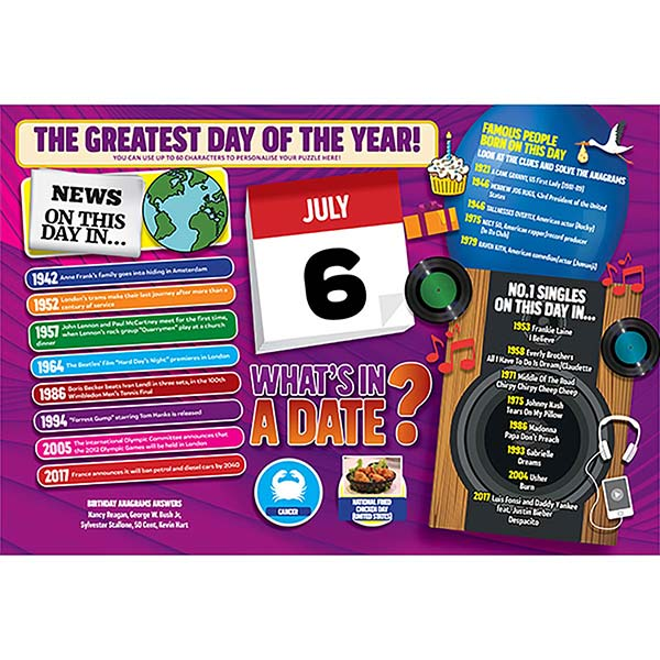 WHAT'S IN A DATE 6th JULY PERSONALISED 400 PIECE Image
