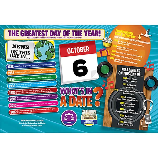 WHAT'S IN A DATE 6th OCTOBER PERSONALISED 400 PIECE Image