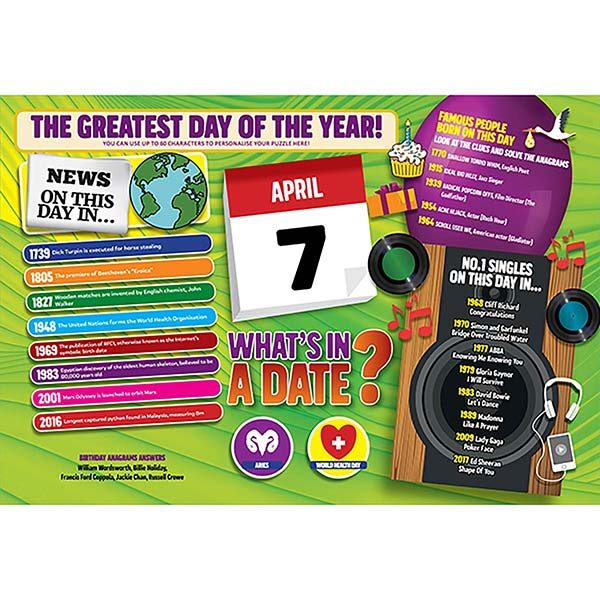 WHAT'S IN A DATE 7th APRIL PERSONALISED 400 PIECE Image