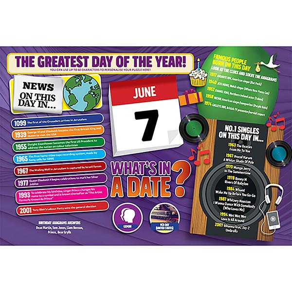 WHAT'S IN A DATE 7th JUNE PERSONALISED 400 PIECE Image