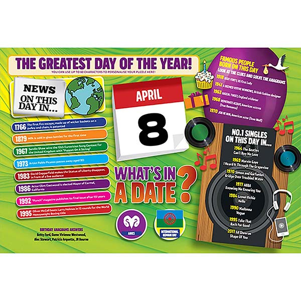 WHAT'S IN A DATE 8th APRIL PERSONALISED 400 PIECE Image