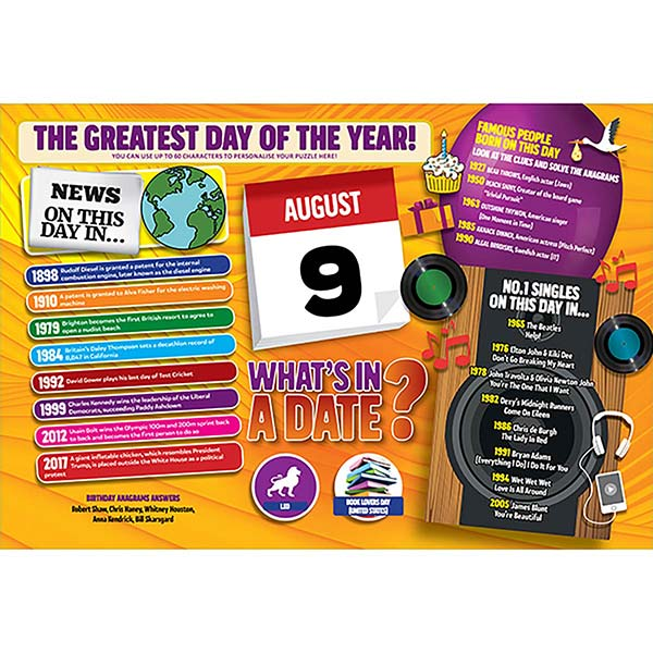 WHAT'S IN A DATE 9th AUGUST PERSONALISED 400 PIECE Image
