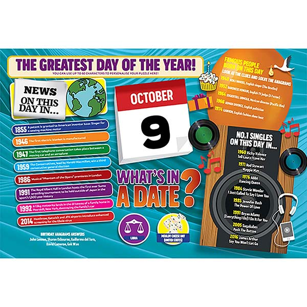 WHAT'S IN A DATE 9th OCTOBER PERSONALISED 400 PIECE Image
